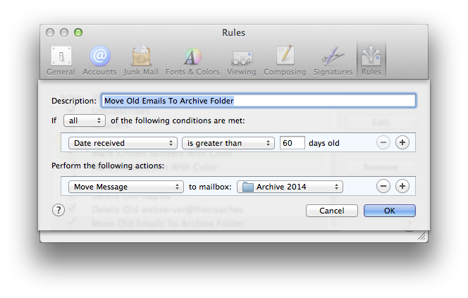 archive mail rule