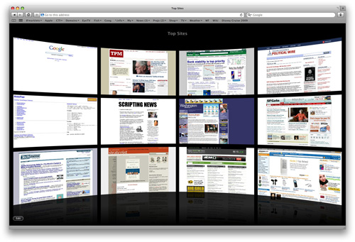 my top sites in Safari 4
